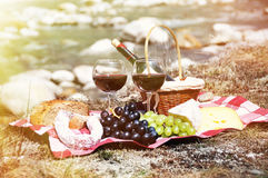 Red wine, cheese and grapes served at a picnic Royalty Free Stock Photography