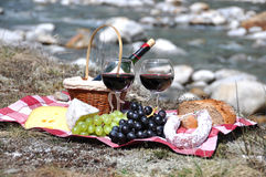 Red wine, cheese and grapes served at a picnic Royalty Free Stock Images