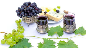 Red wine, cheese and grapes Royalty Free Stock Photos