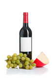 Red wine cheese and grapes Stock Images