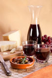 Red wine and cheese. Stock Photography