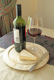 Red Wine And Cheese. This photo shows some Red wine and cheese stock photography