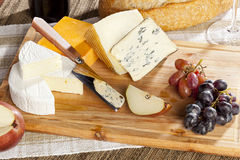 Red Wine And Cheese Plate Royalty Free Stock Photos