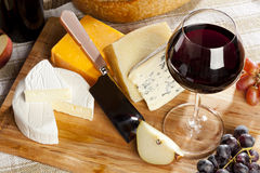 Red Wine And Cheese Plate Royalty Free Stock Image