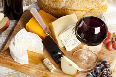 Red Wine And Cheese Plate Stock Images
