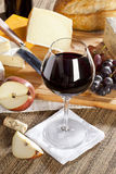 Red Wine And Cheese Plate Stock Image
