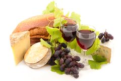 Red wine, cheese. And bread Royalty Free Stock Images