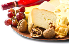 Red wine with  cheese selection Stock Photo