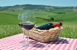 Red wine on the chequered cloth Royalty Free Stock Images