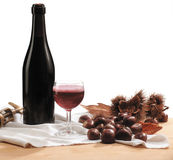 Red wine and chestnuts Royalty Free Stock Image