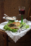 Red wine and chicken fillet stuffed mushrooms Royalty Free Stock Photo
