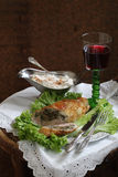 Red wine and chicken fillet stuffed mushrooms Stock Image