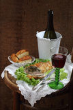 Red wine and chicken fillet stuffed mushrooms Royalty Free Stock Photos