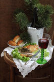 Red wine and chicken fillet stuffed mushrooms Royalty Free Stock Image