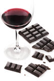 Red wine and chocolate Stock Images