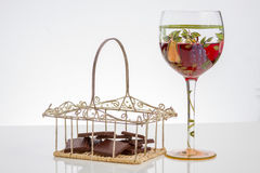 Red wine and chocolate bar. Selective focus Stock Photography