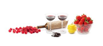 Red wine chocolate and fruit . Red wine chocolate and fruit isolated on white background.Panoramic collection. Wide photo with free space for text Stock Image