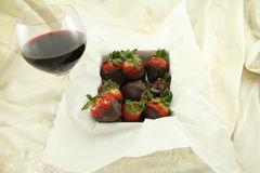 Red Wine and Chocolate Strawberries Stock Image