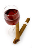 Red wine and cigars stock images