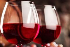 Red wine.Closeup of two glasses of red wine.macro .Selective focus.  royalty free stock photography