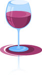 Red wine, cocktail. In the glass vector illustration