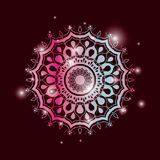 Red wine color background with brightness and colorful brilliant flower mandala vintage decorative ornament. Vector illustration Royalty Free Stock Photography