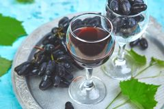 Red wine concept with bottle, glass and grapes royalty free stock photo