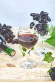 Red wine concept with bottle, glass and grapes royalty free stock photos