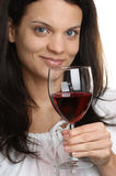 Red wine is consumed from a glass Royalty Free Stock Photo