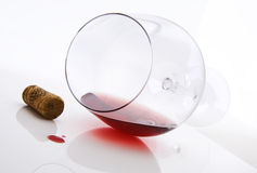 Red wine and cork stopper Stock Photos