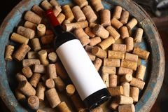 Red wine and corks Stock Photo