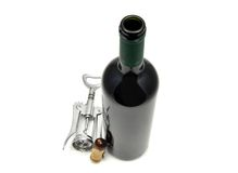 Red wine and corkscrew Stock Image
