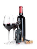 Red wine, corkscrew, corks and thermometer Royalty Free Stock Image