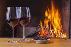 Red wine with dark chocolate Stock Photos