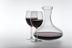 Red wine in decanter and glasses stock photography