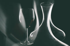 Red wine in decanter and glasses royalty free stock images