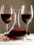 Red Wine in Decanter and Two Glasses Stock Image
