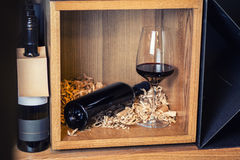 Red wine display Royalty Free Stock Photo