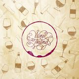 Red wine drops over text paper background. royalty free illustration