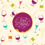 Red wine drops over text paper background. Royalty Free Stock Photography