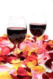 Red wine end rose petal Royalty Free Stock Images
