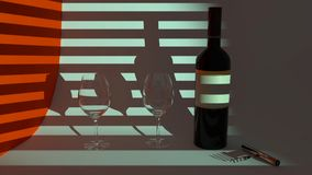 Red wine in the evening, a bottle of red wine vector illustration