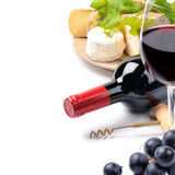 Red wine with French cheese selection Stock Photos