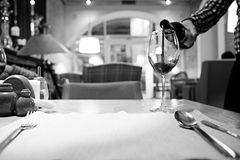 Red wine in a French restaurant Stock Photography