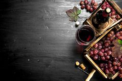 Red wine with fresh grapes in a box. Royalty Free Stock Photo