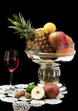 Red Wine   with fruits Royalty Free Stock Image