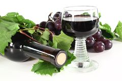 Red wine with glass Stock Image