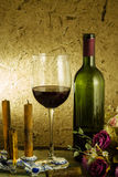 Red wine and glass Stock Photography
