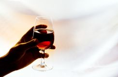 Red wine glass. Backlighting red wine glass in a hand Stock Photos