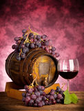 Red wine glass barrel with grapes Stock Image